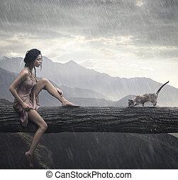mulher, jovem, tronco, gato