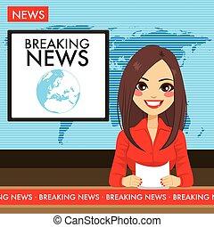 mulher jovem, tv, newscaster