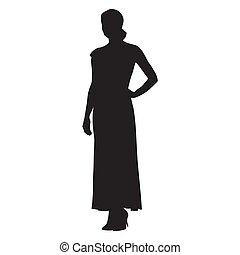 mulher jovem, vestido, em, longo, vestido verão, vetorial, silueta