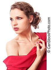 mulher, jovem, vestido vermelho, bonito