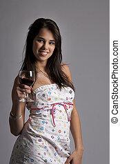 mulher, jovem, vinho tinto