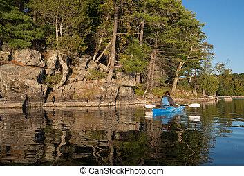 mulher, kayaking, lago, norte