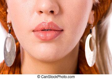 mulher, lábios