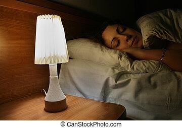mulher, lâmpada, sono