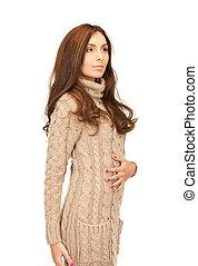 mulher, lã, vestido, bonito