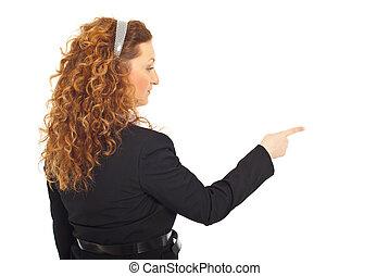 mulher, lado, apontar, negócio, costas