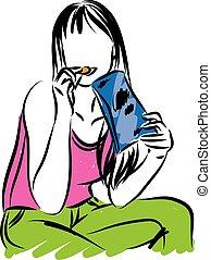 mulher, lanche, comer, ilustração, vetorial, lascas