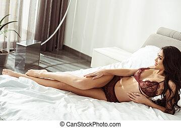 mulher, langerie, sedutor, cama