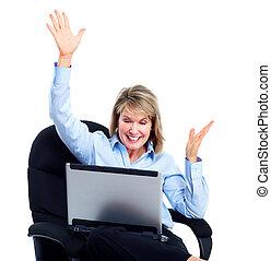 mulher, laptop., negócio, feliz