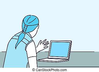 mulher, laptop, trabalhando