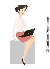 mulher, laptop.