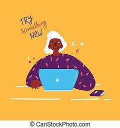 mulher, laptop., vetorial, velho, estudar