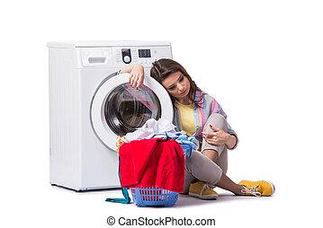 mulher, lavanderia, cansadas, após, isolado, branca