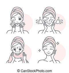 mulher, lavando, dela, rosto