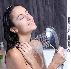 mulher, leva, banho