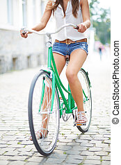 mulher, ligado, bicicleta