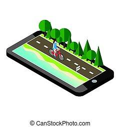 mulher, ligado, bicicleta, estrada, perto, a, praia, e, floresta