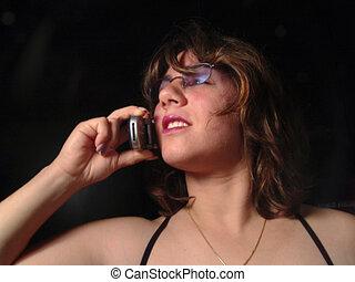 mulher, ligado, cellphone