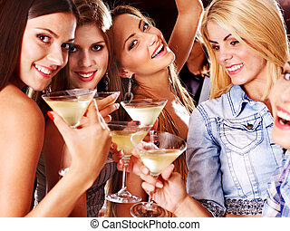 mulher, ligado, discoteca, em, noturna, club.