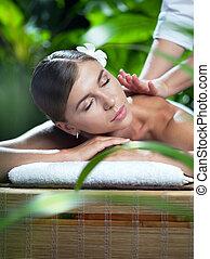 mulher, ligado, massagem