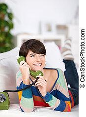 mulher, ligado, telefone