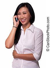 mulher, ligado, telefone pilha