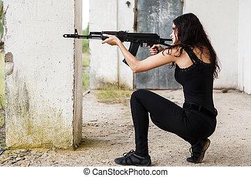 mulher, ligado, um, campo batalha