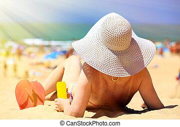 mulher, ligado, um, praia