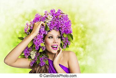 mulher, lilás, flor, hairstyle., moda, menina, beleza, enfrente retrato, modelo, maquilagem, flores cabelo