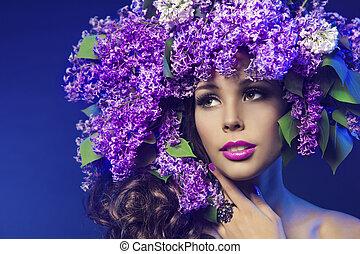 mulher, lilás, flor, moda, hairstyle., modelo, beleza, retrato, menina, rosto, maquilagem, flores roxas, em, cabelo