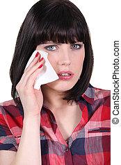 mulher, limpar, afastado, um, lágrima