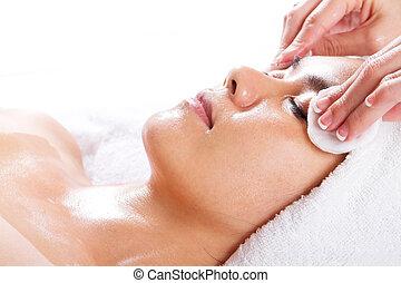 mulher, limpe, para, facial