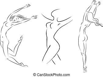 mulher, linha, vetorial, ilustração