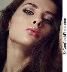 mulher, lips., maquilagem, quentes, closeup, excitado, retrato