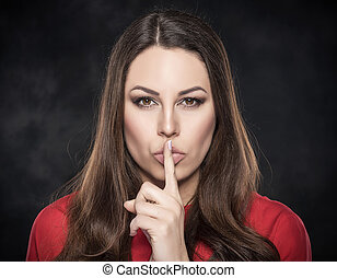 mulher, lips., mostrando, sinal, dedo, silêncio