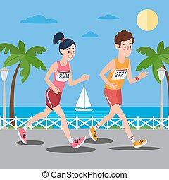 mulher, litoral, runners., passeio, executando, maratona, homem