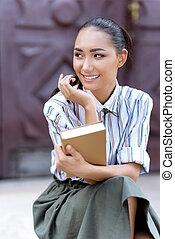 mulher, livro, asiático