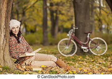 mulher, livro, jovem