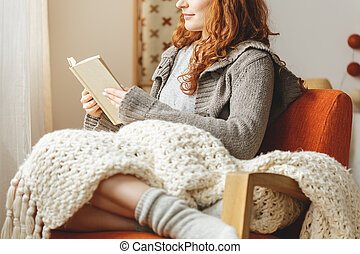 mulher, livro, leitura