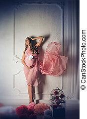 mulher, longo-cabelo, grávida, longo, fundo, vestido branco