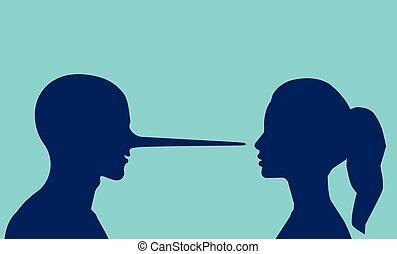 mulher, longo, olhar, vetorial, nose., mentindo, homem