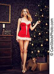 mulher, longo, santa, excitado, pernas, vestido, natal, vermelho