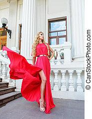 mulher, loura, ao ar livre, longo, vestido, bonito