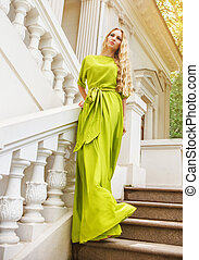 mulher, loura, longo, vestido, bonito