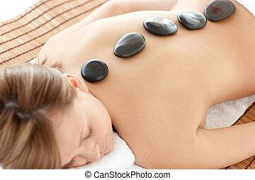mulher, luminoso, tabela, mentindo, massagem