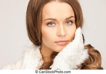 mulher, luvas, bonito, branca