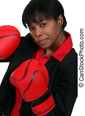 mulher, luvas, boxe