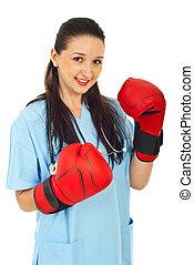 mulher, luvas, boxe, doutor