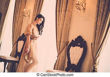 mulher, luxo, casa, jovem, janela, interior, bonito