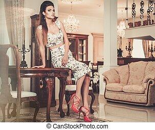 mulher, luxo, interior, lar, bonito